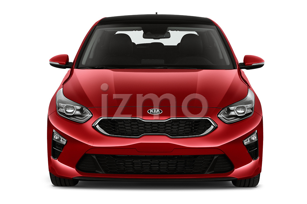 Car photography straight front view of a 2019 KIA Ceed Fusion Door Hatchback Front View