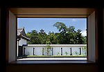 Photo shows the view of Matsue Castle from Matsue Historical Museum in Matsue City, Shimane Prefecture, Japan on 26 June 2011.  Photographer: Robert Gilhooly