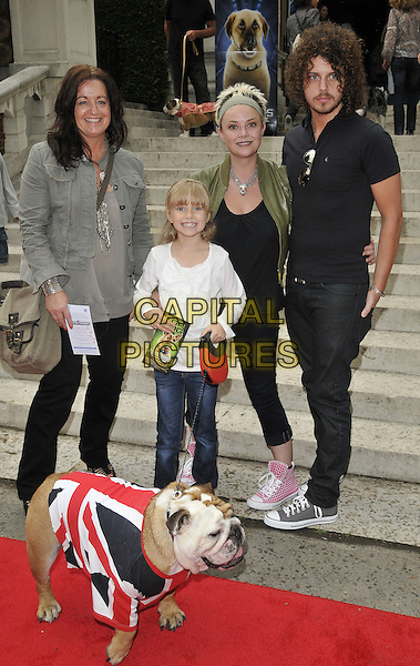 "GUEST, HONEY HIPGRAVE, GAIL PORTER, JONNY DAVIES .""Cats & Dogs: Revenge of Kitty Galore"" UK premiere, Holland Park Open Air Theatre, London, England..August 1st, 2010.full length jeans denim white black green brown top jacket leather bag purse couple animal mother mom mum daughter family .CAP/CAN.©Can Nguyen/Capital Pictures."