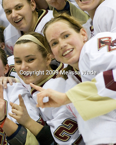 Becky Zavisza (Boston College - 2), Lauren Wiedmeier (Boston College - 27), Allie Thunstrom (Boston College - 9) - The Boston College Eagles defeated the Harvard University Crimson 1-0 to win the Beanpot on Tuesday, February 10, 2009, at Matthews Arena in Boston, Massachusetts.