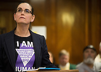 Joanna Hill speaks for the LGBT non-discrimination ordinance during a Bay County Board of Commissioners meeting Tuesday, March 11, at the Bay County Building, 515 Center Ave. in Bay City. The ordinance was voted down by the commissioners during the meeting.<br /> (Yfat Yossifor | The Bay City Times)