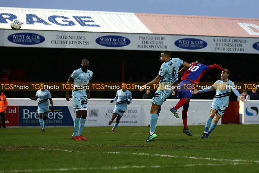 Angelo Balanta of Dagenham scores the third goal for his team during Dagenham & Redbridge vs Boreham Wood, Vanarama National League Football at the Chigwell Construction Stadium on 5th January 2019