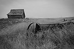 Washington, Northeast, Lincoln County, Davenport. Country landscape with barn and old farm machinery.