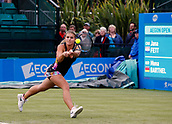 June 12th 2017,  Nottingham, England; WTA Aegon Nottingham Open Tennis Tournament day 3; Jana Fett of Croatia stretches to hit a backhand  in the 2nd set of her match against Mona Barthel of Germany