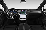 Stock photo of straight dashboard view of a 2019 Tesla Model X 100D 5 Door SUV