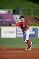 Altoona Curve second baseman Stephen Alemais (2) throws to first base during a game against the Richmond Flying Squirrels on May 15, 2018 at Peoples Natural Gas Field in Altoona, Pennsylvania.  Altoona defeated Richmond 5-1.  (Mike Janes/Four Seam Images)