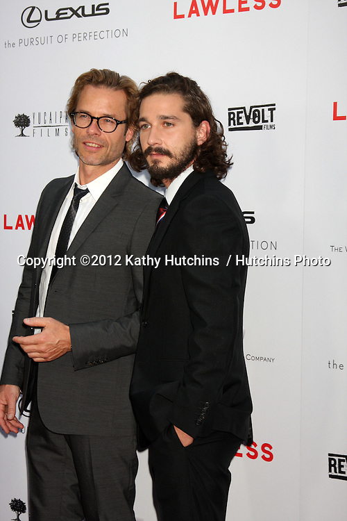 """LOS ANGELES - AUG 22:  Guy Pearce, Shia LaBeouf arrives at the """"Lawless"""" LA Premiere at ArcLight Theaters on August 22, 2012 in Los Angeles, CA"""