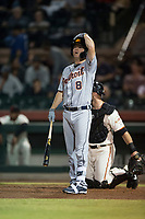 Mesa Solar Sox catcher Jake Rogers (8), of the Detroit Tigers organization, at bat during an Arizona Fall League game against the Scottsdale Scorpions on October 9, 2018 at Scottsdale Stadium in Scottsdale, Arizona. The Solar Sox defeated the Scorpions 4-3. (Zachary Lucy/Four Seam Images)