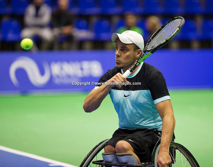 Rotterdam,Netherlands, December 15, 2015,  Topsport Centrum, Lotto NK Tennis, Wheelchair Tennis, Berry Korst (NED)<br /> Photo: Tennisimages/Henk Koster