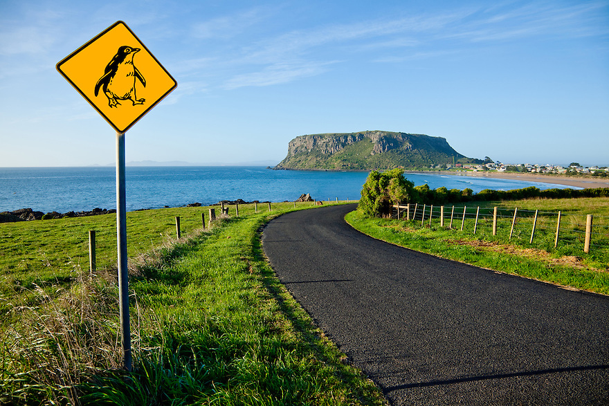 Penguin warning sign. Stanley Nut. Tasmania. Australia.