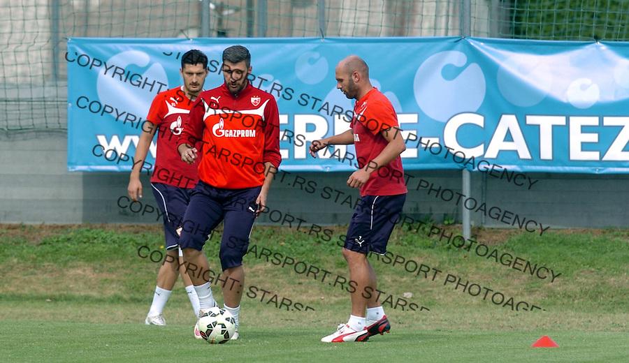 FUDBAL - PRIPREME - CRVENA ZVEZDA - TRENING - Damir Kahriman golman, Sasa Stojanovic (D) i Zoran Rendulic (L) fudbaleri Crvene Zvezde na treningu.<br /> Brezice, 18.06.2015.<br />                              foto:N.Skenderija