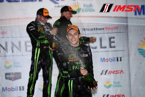 16-19 March, 2016, Sebring, Florida USA<br /> 2, Honda HPD, Ligier JS P2, P,  Luis Felipe Derani celebrates in Victory Lane.<br /> &copy;2016, Richard Dole<br /> LAT Photo USA