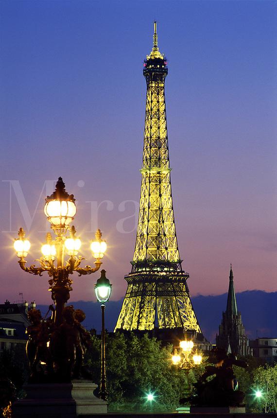 The Eiffel Tower illuminated at night