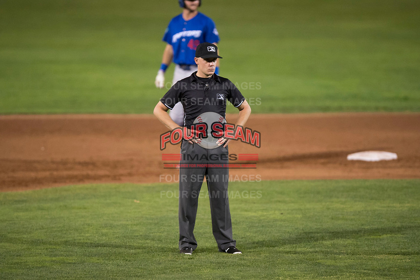 Field umpire Bobby Tassone during a Pioneer League game between the Orem Owlz and the Ogden Raptors at Home of the OWLZ on August 24, 2018 in Orem, Utah. The Ogden Raptors defeated the Orem Owlz by a score of 13-5. (Zachary Lucy/Four Seam Images)