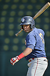 18 August 2012: Brooklyn Cyclones catcher Nelfi Zapata awaits his turn in the batting cage prior to a game against the Vermont Lake Monsters at Centennial Field in Burlington, Vermont. The Lake Monsters defeated the Cyclones 4-1 in NY Penn League action. Mandatory Credit: Ed Wolfstein Photo