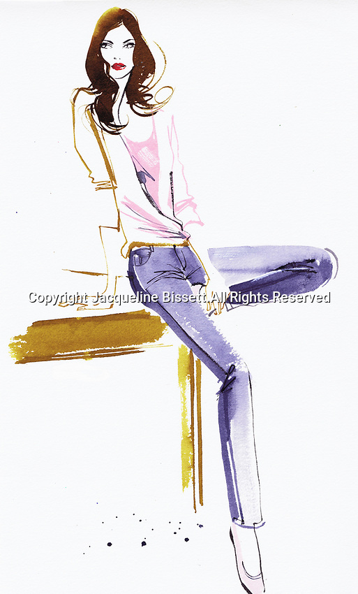 Fashion illustration of woman in jeans leaning against table