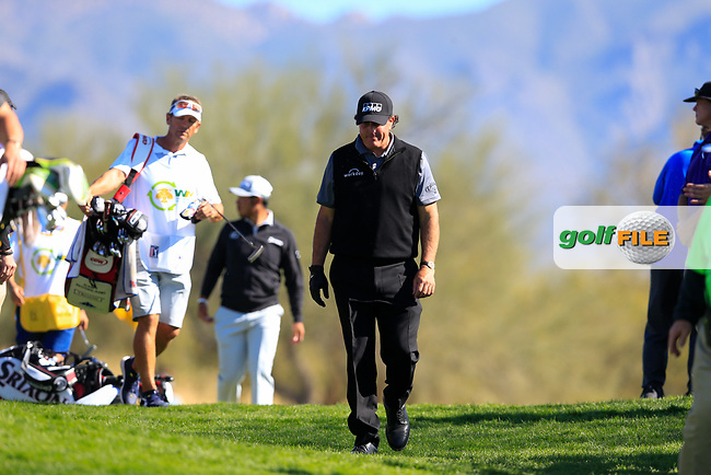 Phil Mickelson (USA) on the 5th during the 2nd round of the Waste Management Phoenix Open, TPC Scottsdale, Scottsdale, Arisona, USA. 01/02/2019.<br /> Picture Fran Caffrey / Golffile.ie<br /> <br /> All photo usage must carry mandatory copyright credit (&copy; Golffile | Fran Caffrey)