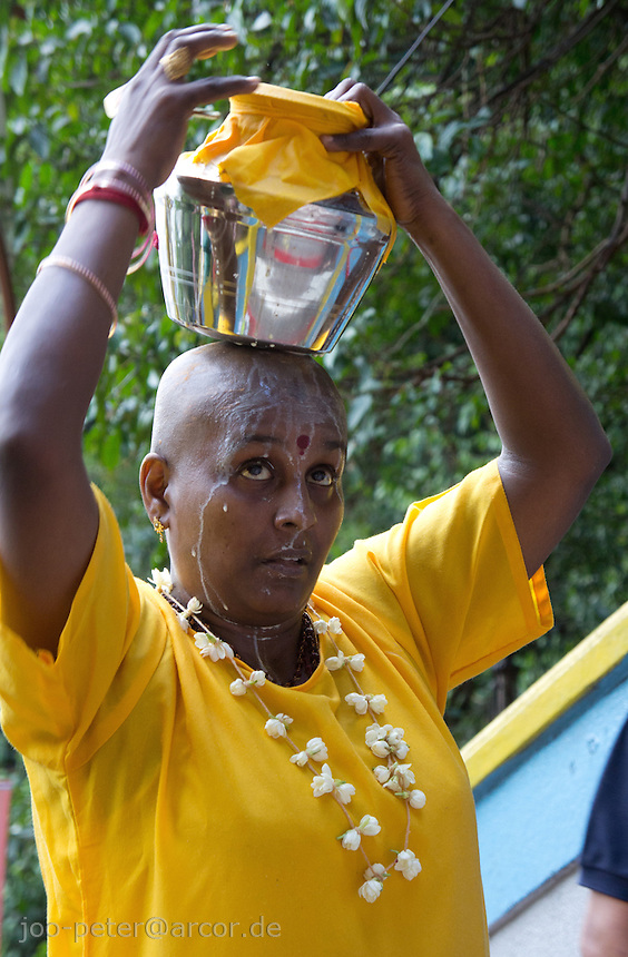 woman with shaved head and  body-painting, sacrifices to  to support salvation of ancestors among other rituals, carrying a metal pot with holy milk and ascending stairways to sanctuary, at Thaipusam ceremonies,  Batu Caves, Kuala Lumpur, Malaysia, 2012. Thaipusam ceremonies, celebrated by tamile Hindu community in Malaysia, take place  in Sanctuary of Batu Caves at the border of Kuala Lumpur, each year around end of January or beginning of February, according to Hindu moon calendar. The event is paying hommage to Lord Murugan, a spirit or god created by Shiva to lead the army of gods against the army of evil demons, finally defeating the evil spirits. There are many ways to present offerings or sacrifices for this major religious event. Devotees mortify their bodies by carrying heavy kavaris with spears fixed in their skin or fruits, flowers and little post with holy milk fixed with hooks in their skin, ascending the stairways to the sanctuary in trance, `followed by assistant  taking care and musicians playing loud and fast rhythmic trance music.  Many families shave their head in a ritual before ascending the stairways, as part of rituals to obtain salvation for their ancestors.