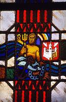 Europe/Belgique/Flandre/Province d'Anvers/Anvers : L'Hôtel de Ville (XVI°) - Détail des vitraux symbolisant la ville d'Anvers