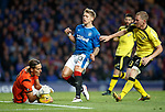 Martyn Waghorn is thwarted in front of goal