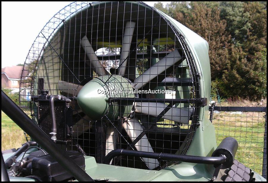 BNPS.co.uk (01202 558833)<br /> Pic: JuliensAuctions/BNPS<br /> <br /> ***Please Use Full Byline***<br /> <br /> The fan of the hovercraft that features in the James Bond film, Die Another Day. <br /> <br /> Est: £30,000<br /> <br /> The iconic micro-jet flown by Roger Moore in Octopussy and the swivel chair used by super-villain Blofeld are among a host of props from James Bond movies coming up for sale.<br /> <br /> The 12ft long BD-5J red, white and blue aircraft, that is the world's lightest jet, was piloted by 007 in the opening scenes of Octopussy, outwitting his Cuban captors.<br /> <br /> The aircraft was actually built seven years before the film as part of an air display team and was hired for the 1983 Bond flick.