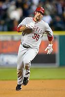 Los Angeles Angels' Casey Kotchman (35) hustles into third base versus the Detroit Tigers at Comerica Park in Detroit, MI, Sunday, April 27, 2008.