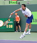 March 28 2017: Roberto Bautista Agut (ESP) loses to Roger Federer (SUI) 7-6, 7-6 at the Miami Open being played at Crandon Park Tennis Center in Miami, Key Biscayne, Florida. ©Karla Kinne/tennisclix/EQ