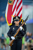 Orlando, FL - Saturday July 16, 2016: Orlando Color Guard prior to a regular season National Women's Soccer League (NWSL) match between the Orlando Pride and the Chicago Red Stars at Camping World Stadium.