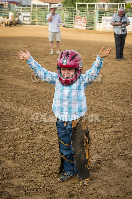 Kids' Mutton Bustin' trials at the 75th Amador County Fair, Plymouth, Calif.