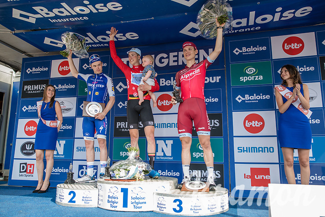 Overall Classification podium with:<br /> 1/ Jens Keukeleire (BEL/Team Belgium)<br /> 2/ Remi Cavagna (FRA/Quick Step Floors)<br /> 3/ Tony Martin (GER/Katusha Alpecin)<br /> <br /> Baloise Belgium Tour 2017 (2.HC)<br /> Stage 5: Tienen - Tongeren 169.6km
