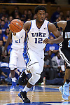 04 November 2014: Duke's Justise Winslow. The Duke University Blue Devils hosted the Livingstone College Blue Bears at Cameron Indoor Stadium in Durham, North Carolina in an NCAA Men's Basketball exhibition game.