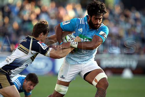 April 30th 2017,Canberra, Australia; Super Rugby Match; Brumbies versus Blues; Akira Ioane runs through James Dargaville