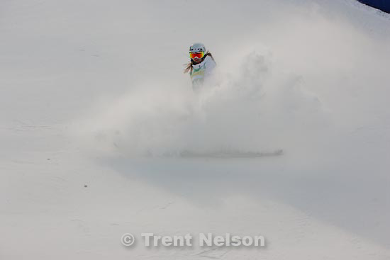 Trent Nelson  |  The Salt Lake Tribune.Russian skier Anastassia Gunchenko slides to a stop as skiers test out the moguls course at the FIS Freestyle World Cup at Deer Valley, Wednesday, January 13, 2010.