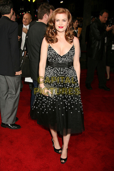 """ISLA FISHER .""""The Lookout"""" Los Angeles Premiere at Grauman's Egyptian Theatre, Hollywood, California, USA..March 20th, 2007.full length black dress silver clutch purse pee toe shoes polka dot pattern .CAP/ADM/BP.©Byron Purvis/AdMedia/Capital Pictures"""