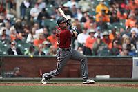 SAN FRANCISCO, CA - APRIL 11:  Nick Ahmed #13 of the Arizona Diamondbacks bats against the San Francisco Giants during the game at AT&T Park on Wednesday, April 11, 2018 in San Francisco, California. (Photo by Brad Mangin)