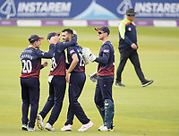 Team mates quick to congratulate Saqib Mahmood of Lancashire CCC on the dismissal of Ross Taylor during Middlesex vs Lancashire, Royal London One-Day Cup Cricket at Lord's Cricket Ground on 10th May 2019