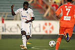 23 June 2012: Edmonton's Dominic Oppong. The Carolina RailHawks defeated FC Edmonton 2-0 at WakeMed Soccer Stadium in Cary, NC in a 2012 North American Soccer League (NASL) regular season game.