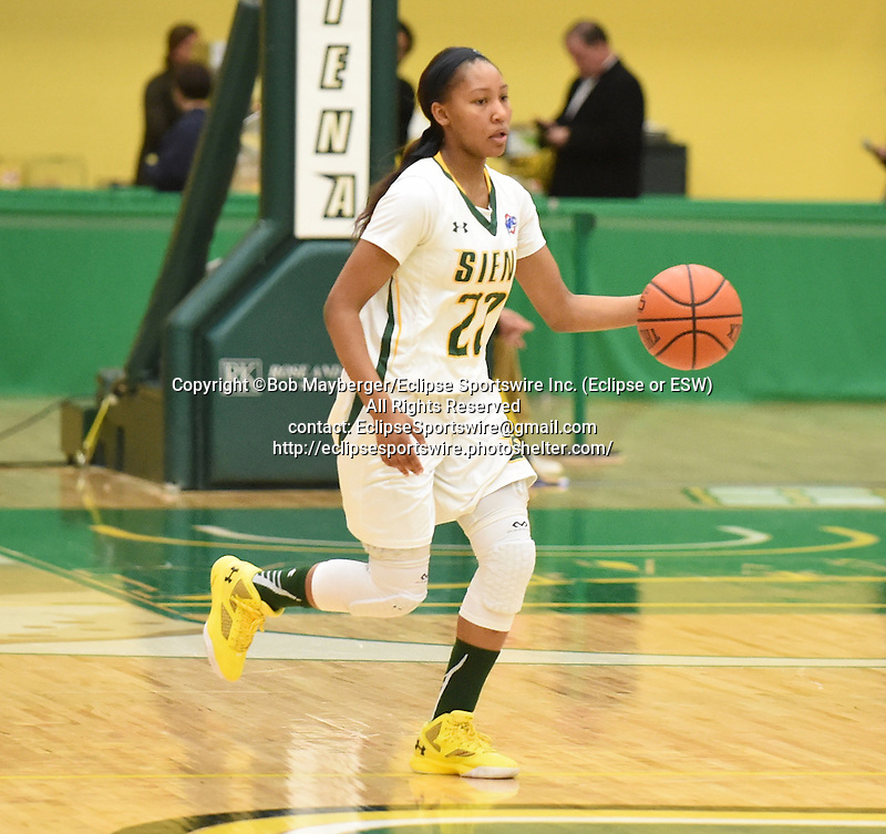 Siena defeats Rider 66-45 in a MAAC conference game on January 08, 2016 at the Alumni Recreation Center in Loudonville, New York.  (Bob Mayberger/Eclipse Sportswire)