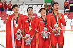 China team group (CHN), <br /> AUGUST 28, 2018 - Cycling - Track : Men's Team Pursuit Victory ceremony at Jakarta International Velodrome during the 2018 Jakarta Palembang Asian Games in Jakarta, Indonesia. <br /> (Photo by MATSUO.K/AFLO SPORT)