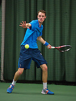 Rotterdam, The Netherlands, 15.03.2014. NOJK 14 and 18 years ,National Indoor Juniors Championships of 2014, Bas Louwers (NED)<br /> Photo:Tennisimages/Henk Koster