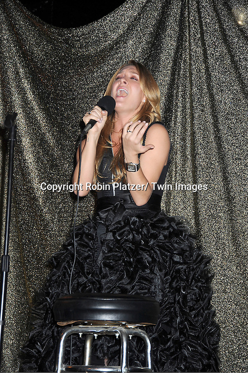 """BethAnn Bonner in Sohung Desing black puffy dress sings at The """"Daytime Meets Nighttime"""" hosted by .The Imperial Court of New York on November 4, 2011 at .The Jan Hus Theatre in New York City. The benefit was for The Jan Hus Theatre and Lifebeat."""