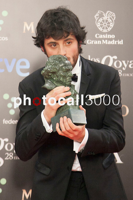 Javier Pereira holds the award after winning the best revelation actor at the Goya Film Awards photocall in Madrid on February 9, 2014. Photo by Nacho Lopez/ DyD FOTOGRAFOS-DYDPPA