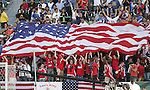 7 June 2007: U.S. fans celebrate after Clint Dempsey's (not pictured) goal in the 26th minute had given them the lead. The United States Men's National Team defeated the National Team of Guatemala 1-0 at the Home Depot Center in Carson, California in a first round game in the CONCACAF Gold Cup.