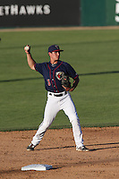 Mott Hyde (3) of the Lancaster JetHawks makes a throw during a game against the Visalia Rawhide at The Hanger on June 16, 2015 in Lancaster, California. Lancaster defeated Visalia, 11-3. (Larry Goren/Four Seam Images)
