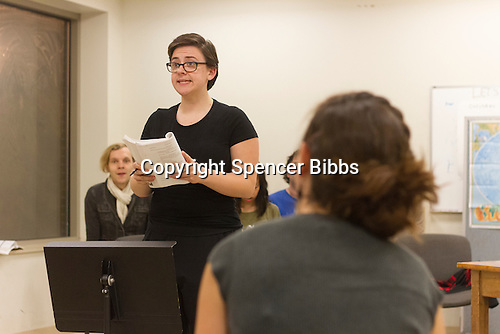The Hyde Park Community Players rehearsed Tuesday evening at Augustana Lutheran Church located at 5500 S. Woodlawn Ave. for their new musical titled, &ldquo;The 25th Annual Putnam Spelling Bee&rdquo;.<br /> <br /> 1922 &ndash; Leslie Halverson rehearses one of her scenes for the play. <br /> <br /> Please 'Like' &quot;Spencer Bibbs Photography&quot; on Facebook.<br /> <br /> All rights to this photo are owned by Spencer Bibbs of Spencer Bibbs Photography and may only be used in any way shape or form, whole or in part with written permission by the owner of the photo, Spencer Bibbs.<br /> <br /> For all of your photography needs, please contact Spencer Bibbs at 773-895-4744. I can also be reached in the following ways:<br /> <br /> Website &ndash; www.spbdigitalconcepts.photoshelter.com<br /> <br /> Text - Text &ldquo;Spencer Bibbs&rdquo; to 72727<br /> <br /> Email &ndash; spencerbibbsphotography@yahoo.com