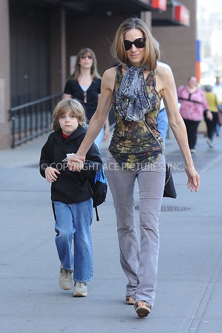 WWW.ACEPIXS.COM . . . . . ....April 8 2010, New York City....Actress Sarah Jessica Parker took her son James to school in the West Village on April 8 2010 in New York City....Please byline: KRISTIN CALLAHAN - ACEPIXS.COM.. . . . . . ..Ace Pictures, Inc:  ..tel: (212) 243 8787 or (646) 769 0430..e-mail: info@acepixs.com..web: http://www.acepixs.com