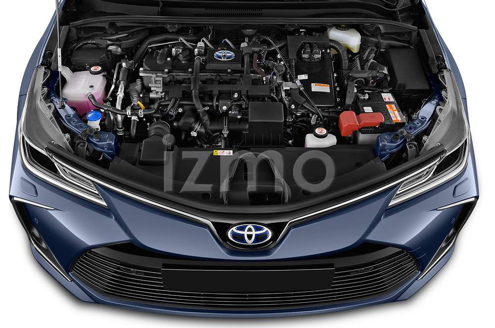 Car stock 2019 Toyota Corolla  Premium 4 Door Sedan engine high angle detail view