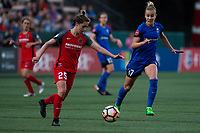 Seattle, WA - Saturday, July 1, 2017:  Beverly Yanez and Meghan Klingenberg during a regular season National Women's Soccer League (NWSL) match between the Seattle Reign FC and the Portland Thorns FC at Memorial Stadium.