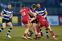 Nick Auterac of Bath United takes on the Harlequins A defence. Aviva A-League match, between Bath United and Harlequins A on March 26, 2018 at the Recreation Ground in Bath, England. Photo by: Patrick Khachfe / Onside Images