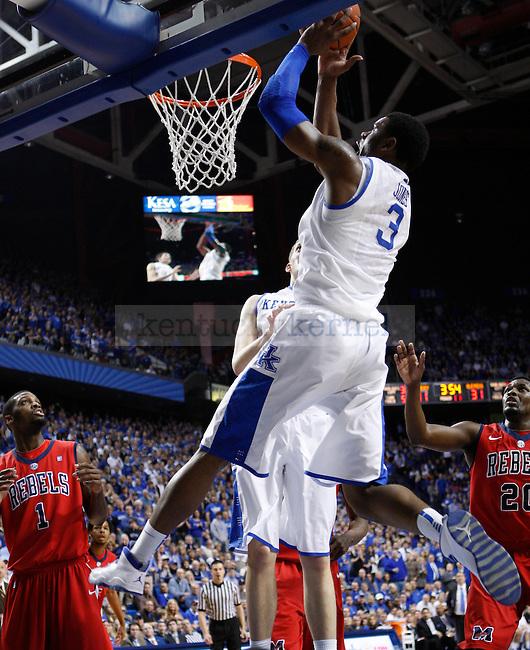 Sophomore forward Terrance Jones dunks the ball during the first half of the game against the University of Mississippi in Lexington, Ky., on Saturday, Feb. 18, 2012. Photo by Tessa Lighty | Staff